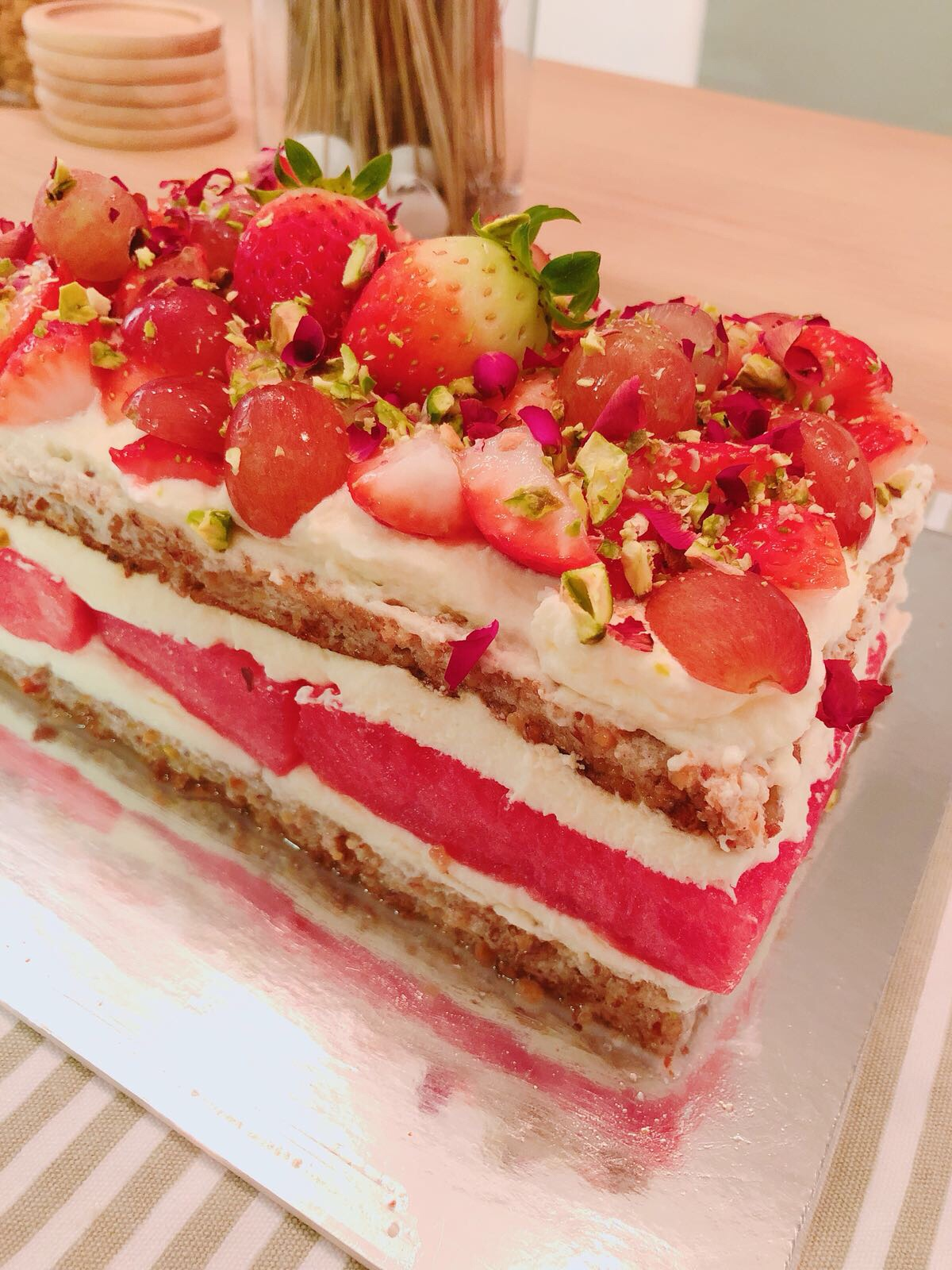Strawberry Watermelon Cake Recipe littlemissramen